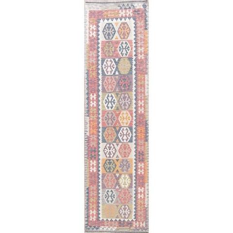 "Southwestern Flat-weave Turkish Kilim Hand-Woven Oriental Runner Rug - 9'10"" x 2'10"" Runner"