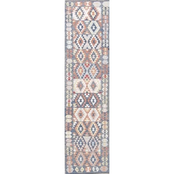 "Flat-Weave Kilim Turkish Tribal Oriental Hand-Woven Wool Runner Rug - 9'5"" x 2'5"" Runner"