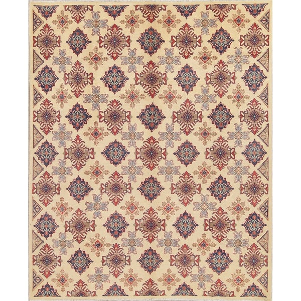 """Chechen-Kazak Pakistan Traditional Hand Knotted Oriental Area Rug - 9'9"""" x 8'0"""""""