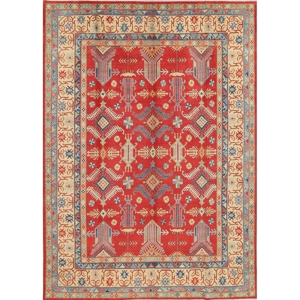 "Kazak Pakistan Traditional Hand-Knotted Wool Oriental Area Rug - 12'8"" x 8'10"""