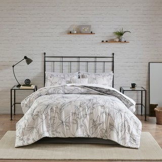 Madison Park Essentials Lisetta White/ Charcoal Reversible Complete bedding set with Cotton Sheet