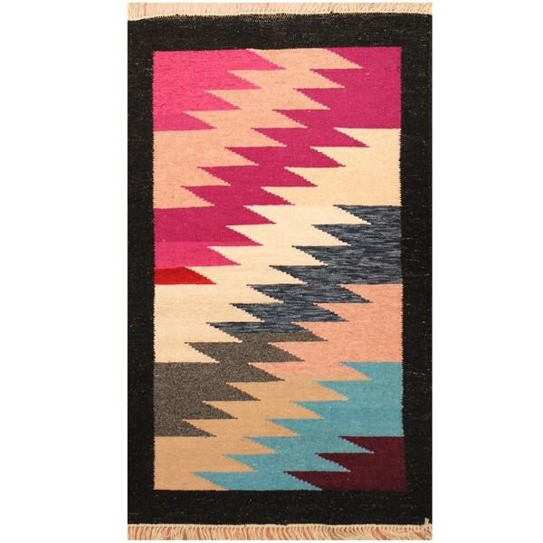 Handmade One-of-a-Kind Chenille Flatweave Rug (India) - 2'6 x 4'