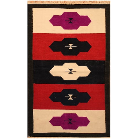 Handmade One-of-a-Kind Chenille Flatweave Rug (India) - 3' x 5'
