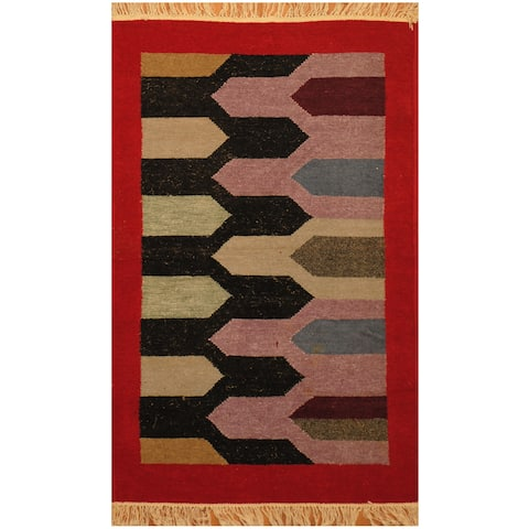 Handmade Herat Oriental Indo Hand-woven Chenille Flatweave Rug (2'5 x 3'10) - 2'5 x 3'10