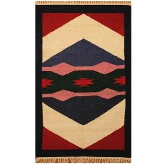 Handmade One-of-a-Kind Chenille Flatweave Rug (India) - 2'7 x 4'1