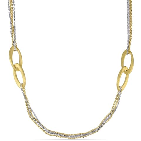 Miadora 18k Yellow and White Gold 35-Inch Stationed Link Statement Necklace