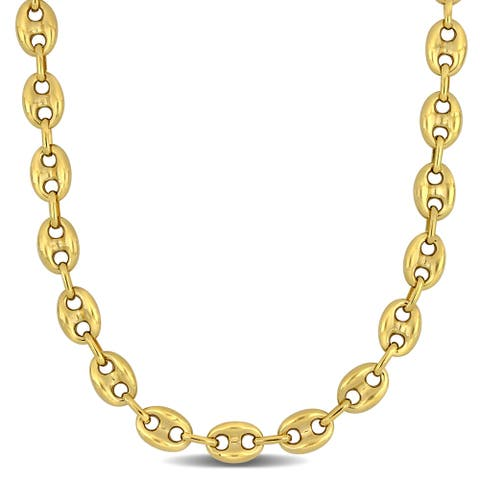 Miadora 10k Yellow Gold 24-Inch Mariner Link Necklace (9.3 MM)