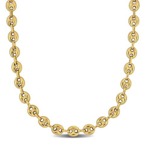 Miadora 10k Yellow Gold 24-Inch Mariner Link Necklace (7.5 MM)