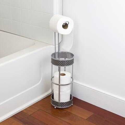 Basket Weave Toilet Paper Dispenser, Silver