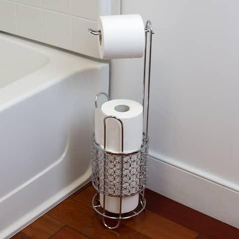 Free Standing Dispensing Toilet Paper Holder, Chrome