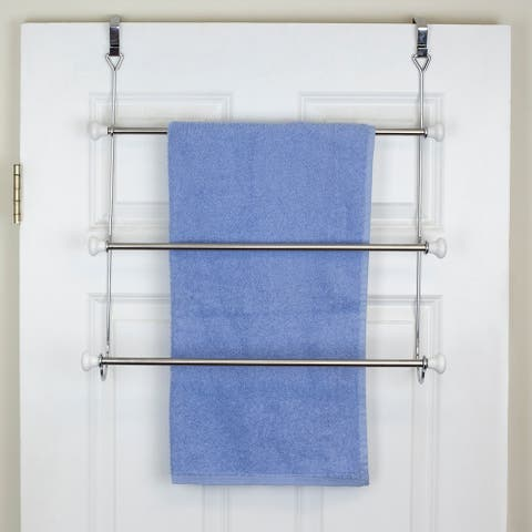 3 Tier Chrome Plated Steel Over the Door Towel Rack with Ceramic Knobs