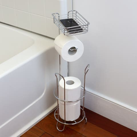Free Standing Dispensing Toilet Paper Holder with Built-in Accessory Tray, Silver