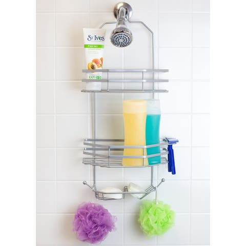 2 Shelf Shower Caddy with Dual Soap Dish Tray and Integrated Hooks, Silver
