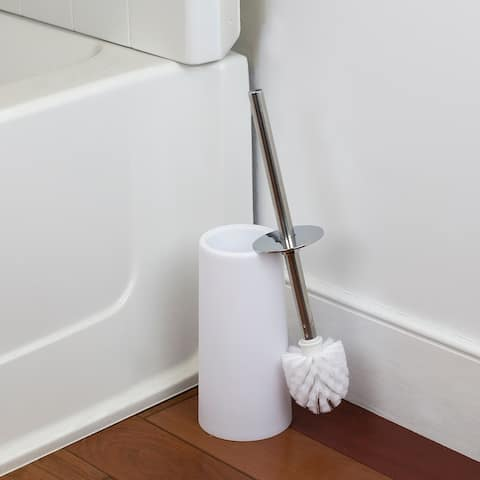 Hide-Away and Splash Proof Tapered Plastic Toilet Brush with Steel Handle, White