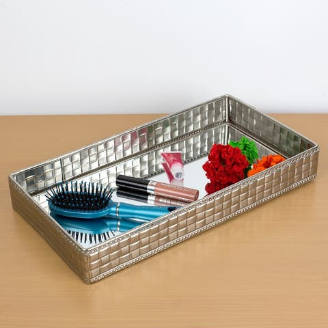 Luxor Mirrored Vanity Tray, Silver