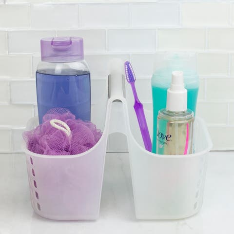 Two Compartment Plastic Shower Tote with Non-Slip Handle
