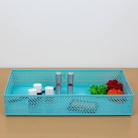 Chevron Decorative Plastic Vanity Tray, Turquoise