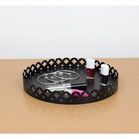 Round Scallop Decorative Plastic Vanity Tray, Black