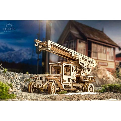 UGEARS Wooden 3D Fire Truck Kit - Lever Operated Rotatable Retractable Ladder