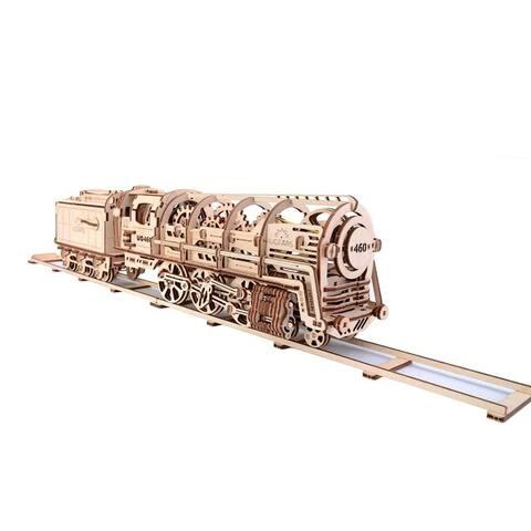 UGears Mechanical Models 3-D Wooden Puzzle - Steam Locomotive Train Engine