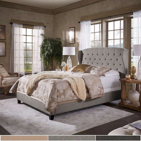 Eugenia Adjustable Tufted Scalloped Wingback Bed by iNSPIRE Q Classic