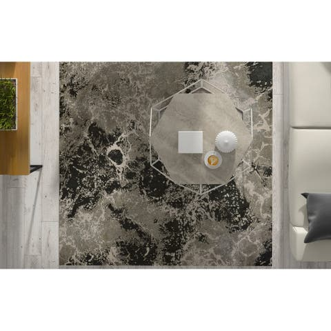 Strick & Bolton Anja Silver Abstract Area Rug
