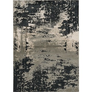 Strick & Bolton Anja Silver/ Charcoal Abstract Area Rug
