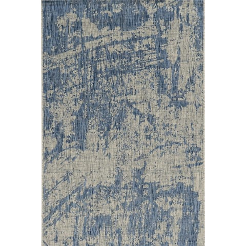 Porch & Den Annadel Grey/ Denim Strokes Area Rug