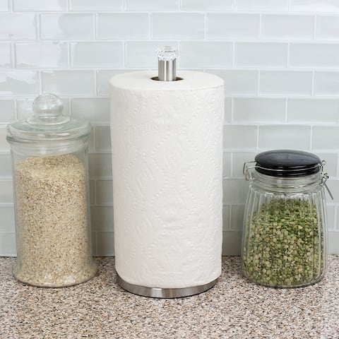 Freestanding Paper Towel Holder with Faux Crystal Top, Satin Nickel