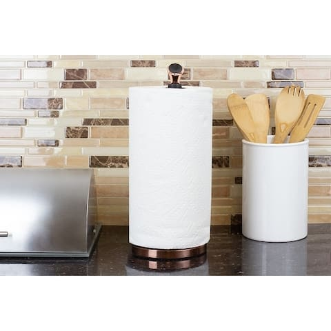 Easy Tear Freestanding Steel Paper Towel Holder, Rose Gold