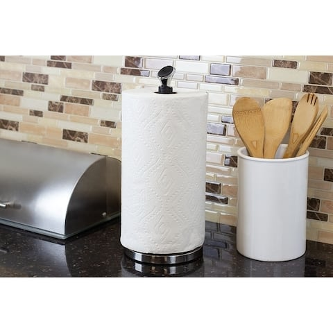 Easy Tear Freestanding Steel Paper Towel Holder, Chrome