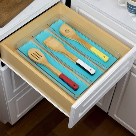 Plastic Cutlery Tray with Rubber-Lined Compartments, Turquoise