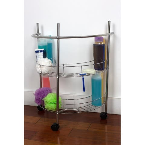 2 Tier Under the Sink Pedestal Rolling Storage Shelf, Chrome