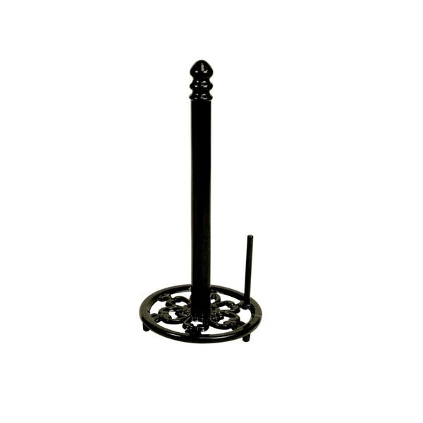Freestanding Cast Iron Paper Towel Holder With Easy Tear Arm Black