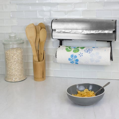 Stainless Steel Paper Towel Holder with Integrated Wrap Dispenser
