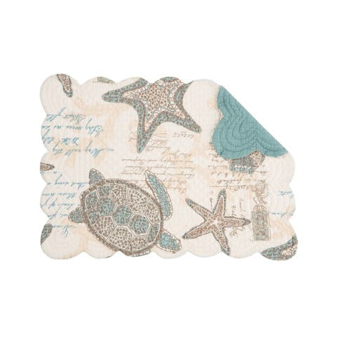 Amber Sands Coastal Quilted Cotton Placemat Set of 6