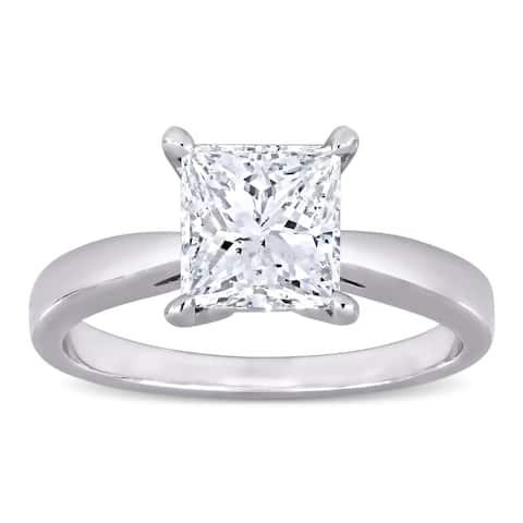 Miadora Platinum 2ct TDW Certified Princess-Cut Diamond Solitaire Engagement Ring (GIA)