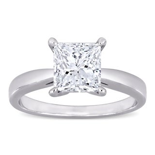 Miadora Platinum 2ct TDW Certified Princess Cut Diamond Solitaire Engagement Ring GIA