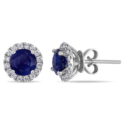 Miadora 14k White Gold Blue Sapphire and 1/3ct TDW Diamond Halo Stud Earrings