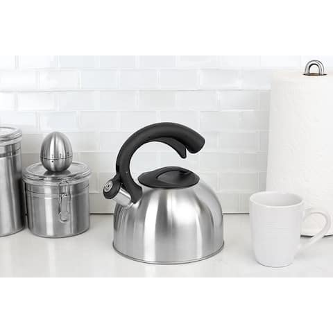 2.5 Liter Easy Pour Whistling Brushed Stainless Steel Tea Kettle, Silver