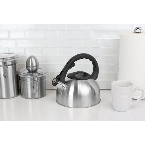 2.5 Liter Brushed Stainless Steel Whistling Tea Kettle with Non-Slip Riveted Handle, Silver