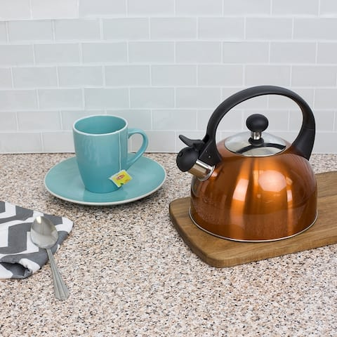 2.5 Liter Safe Pour Brushed Stainless Steel Whistling Tea Kettle, Copper