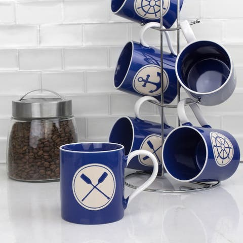 Nautical 6 Piece Mug Set with Stand, Navy