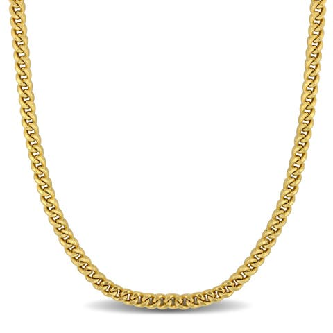 Miadora 10k Yellow Gold 34-Inch Square Curb Link Necklace (5.3 MM)
