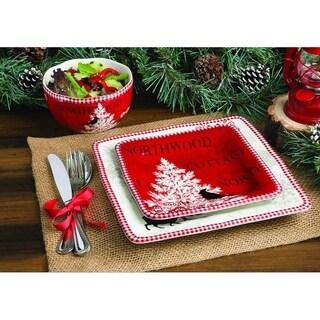 222 Fifth Northwood Cottage 16 Piece Holiday Dinnerware Set