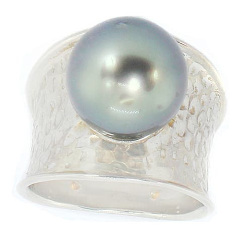 Michael Valitutti Sterling Silver Tahitian Pearl Bead Ring