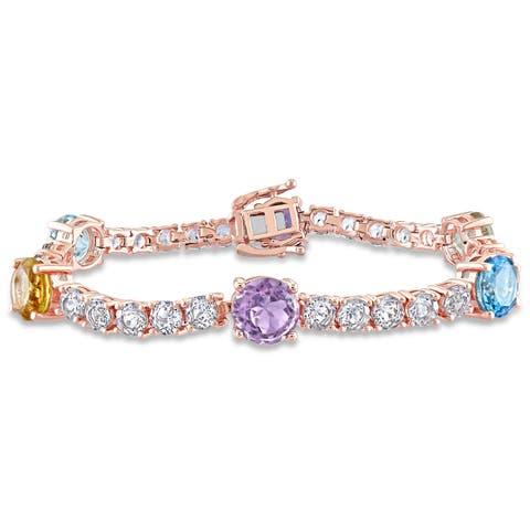Miadora Rose Plated Sterling Silver Multi-Gemstone Station Tennis Bracelet
