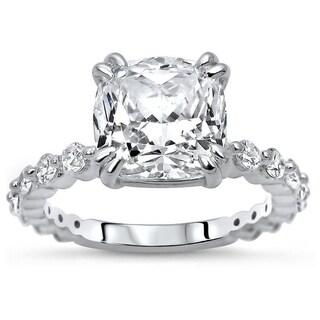 3 75ct TGW Cushion Cut Moissanite And Diamond Engagement Ring 14k White Gold