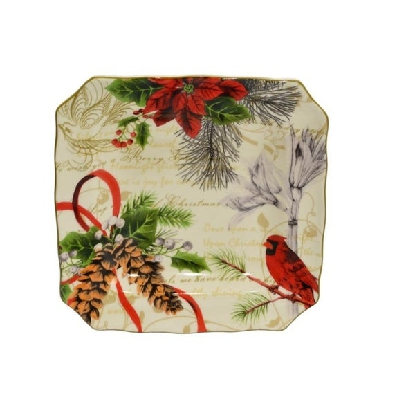 222 Fifth Holiday Wishes Salad Plates Set of 4