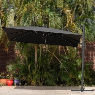 Havenside Home Rigolet Deluxe Square Patio Umbrella with Solar-powered LED Lights (Black)